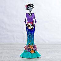 Ceramic sculpture, 'Catrina Painter' - Hand Painted Catrina Sculpture in Violet and Turquoise