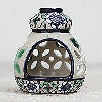 Ceramic tealight holder, 'Green Valley' - Hand-Painted Ceramic Tealight Holder from Mexico