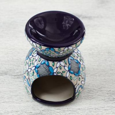 Ceramic oil warmer, 'Guanajuato Blue' - Handcrafted Floral Geometric Ceramic Oil Warmer