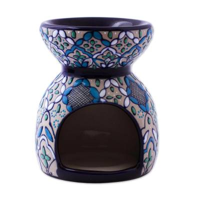 Handcrafted Floral Geometric Ceramic Oil Warmer