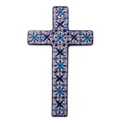 Ceramic wall cross, 'Traditions' - Hand Painted Ceramic Cross with Blue Floral Motifs