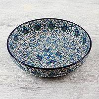 Ceramic serving bowl, 'Road to Guanajuato' - Ceramic Serving Bowl with Hand Painted Motifs