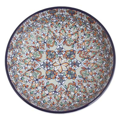 Hand-Painted Talavera Ceramic Fruit Bowl from Mexico