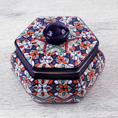 Decorative ceramic box, 'Guanajuato Glory' - Handmade Ceramic Decorative Box from Mexican Artisan