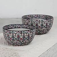Ceramic bowls, 'Sylvan Flora' (pair) - Hand-Painted Ceramic Bowls from Mexico (Pair)