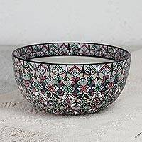 Ceramic serving bowl, 'Sylvan Flora' - Hand-Painted Ceramic Serving Bowl from Mexico