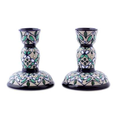 Artisan Crafted Ceramic Candlesticks from Mexico (Pair)