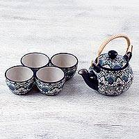 Ceramic teapot and cups, 'Green Valley' (set for 4) - Handcrafted Ceramic Teapot and 4 Cups Set in Green and Blue