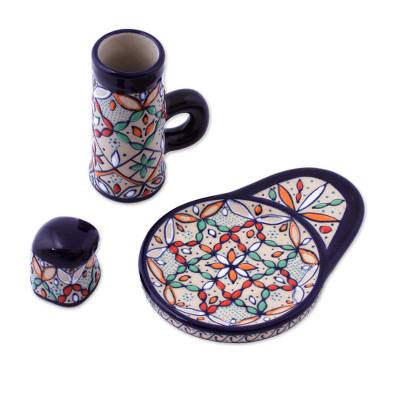 Ceramic tequila set, 'Guanajuato Festivals' (3 pieces) - Handcrafted Mexican Ceramic Tequila Set (3 Pieces)