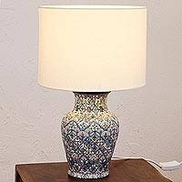 Ceramic table lamp, 'Guanajuato Azul' - Hand-Painted Ceramic Table Lamp in Blue from Mexico