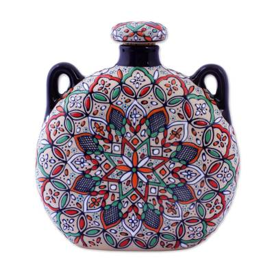 Ceramic bottle, 'Guanajuato Mandala' - Decorative Ceramic Flask Hand Crafted in Mexico