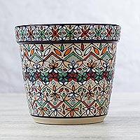 Small ceramic planter, 'Flowers of Guanajuato' - Hand Painted Mexican Floral Ceramic Plant Pot