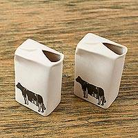 Ceramic cream pitchers, 'Little Milk Cow' (pair) - 2 Individual Serving Handcrafted Ceramic Cream Pitchers