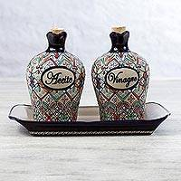 Ceramic oil and vinegar set, 'Flowers of Guanajuato' (3 pcs) - Elegant Hand Painted Oil and Vinegar Cruet Set (3 Pieces)