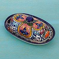 Ceramic butter dish, 'Floral Joy' - Mexican Ceramic Butter Dish with Hand Painted Floral Motifs