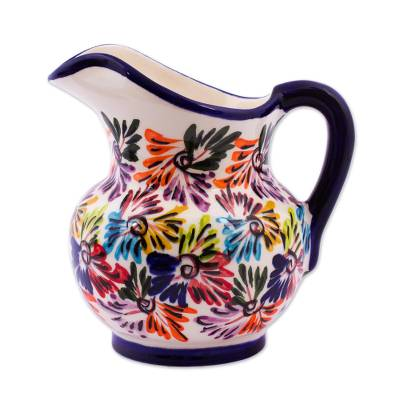 Small ceramic pitcher, 'Dance of Colors' - Small Ceramic Pitcher with Abstract Floral Designs