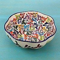 Ceramic serving bowl, 'Dance of Colors' - Mexican Ceramic Serving Bowl with Hand Painted Floral Motifs