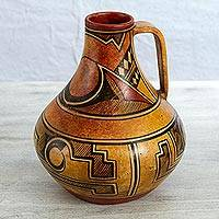 Ceramic decorative vase, 'Legacy of the North' - Handcrafted Vintage Style Ceramic Pitcher Vase from Mexico