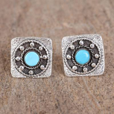Turquoise cufflinks, 'Westward Ho' - Artisan Crafted Sterling Silver and Turquoise Cufflinks