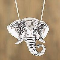 Sterling silver pendant necklace, 'Harmonious Elephant' - 925 Sterling Silver Elephant Pendant Necklace from Mexico