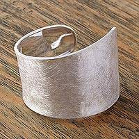 Sterling silver cuff bracelet, 'Ride the Wave' - Artisan Crafted Sterling Silver Cuff Bracelet from Mexico