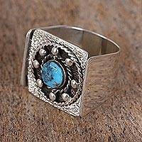 Men's turquoise ring, 'Westward Ho' - Men's Turquoise and Sterling Silver Signet Ring