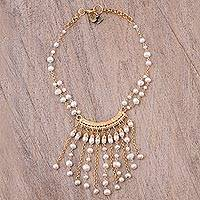 Gold plated cultured pearl waterfall necklace, 'Luxurious Cascade' - Gold Plated Cultured Pearl Waterfall Necklace from Mexico
