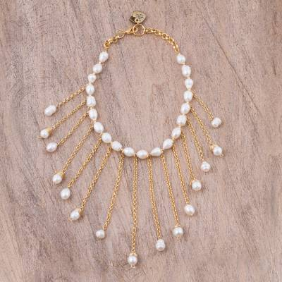 Gold plated cultured pearl waterfall necklace, 'Mexican Rain' - Gold Plated Cultured Pearl Waterfall Necklace from Mexico