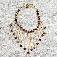 Gold plated tiger's eye waterfall necklace, 'Mexican Rain' - Gold Plated Tiger's Eye Waterfall Necklace from Mexico