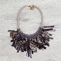 Onyx and leather statement necklace, 'Dark Night Shimmer' - Onyx and Leather Statement Necklace from Mexico