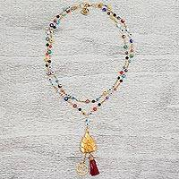 Gold plated glass beaded Y necklace, 'Ganesha Eyes' - Gold Plated Glass and Leather Pendant Necklace from Mexico