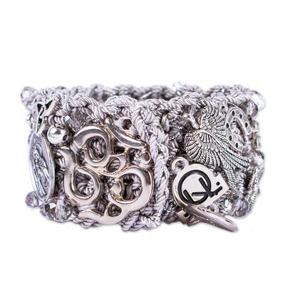 Chunky Rose Dragonfly Heart SIlver Charm Crochet Wristband Bracelet