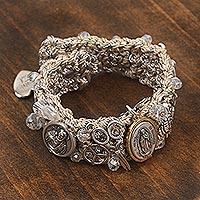 Gold accent Swarovski crystal wristband bracelet, 'Saint Benedict Rainbow' - Gold Accent Swarovski Crystal Religious Bracelet from Mexico