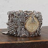 Gold accent wristband bracelet, 'Benedictine Universe' - Gold Accent Wristband Bracelet with Mexican Charms