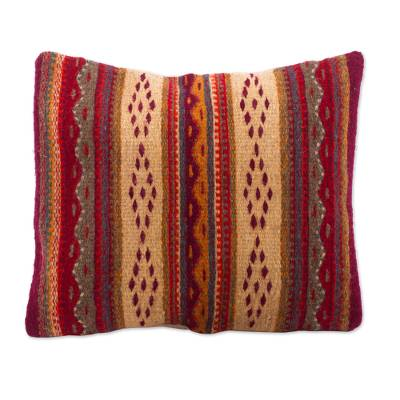 Wool cushion cover, 'Desert Afternoon' - Handwoven Diamond Motif Wool Cushion Cover from Mexico