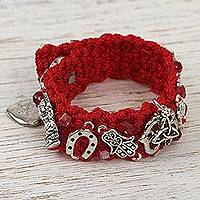 Macrame wristband bracelet, 'Crimson Luck' - Red Macrame Wristband Charm Bracelet from Mexico