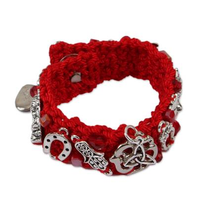 Unique Crocheted Red Gold Plated Heart Dragonfly Wristband Bracelet