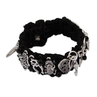 Unique Crocheted Black Gold Plated Heart Dragonfly Wristband Bracelet