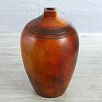 Ceramic decorative vase, 'Village Wisdom' - Ceramic Decorative Vase with a Square Spout from Mexico