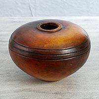 Ceramic decorative vase, 'Village Sunrise' - Handcrafted Short Ceramic Decorative Vase from Mexico
