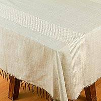 Cotton blend tablecloth, 'Peaceful Day' - Grey Woven Cotton Blend Tablecloth from Mexico