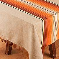 Cotton blend tablecloth, 'Desert Path' (5.5x10) - Striped Cotton Blend Tablecloth from Mexico (5.5x10)