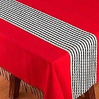 Cotton blend tablecloth, 'Crimson Road' - Woven Red Striped Cotton Blend Tablecloth from Mexico