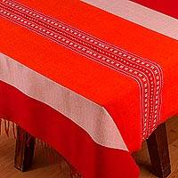 Cotton blend tablecloth, 'Fire's Warmth' - Woven Striped Cotton Blend Tablecloth from Mexico