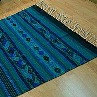 Wool area rug, 'Seaside View' (4x6.5) - 4x6.5 Handwoven Blue Geometric Wool Area Rug from Mexico