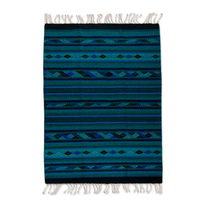 4x6.5 Handwoven Blue Geometric Wool Area Rug from Mexico