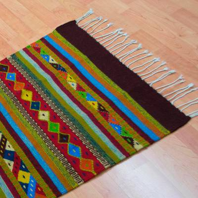 Wool area rug, Rainbow View (2.5x5)