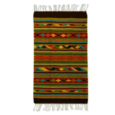 Wool area rug, 'Rainbow View' (2.5x5) - 2.5x5 Handwoven Multicolored Wool Area Rug from Mexico