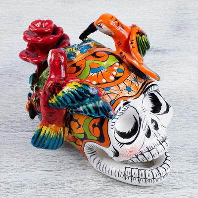 Hand-Painted Ceramic Skull Sculpture with Hummingbirds, 'Hummingbird Skull'