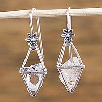 Quartz dangle earrings, 'Dreaming Flower' - Sterling Silver Quartz Crystal Dangle Earrings from Mexico